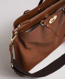 Large leather shopping bag with shoulder strap Leather Brown Woman 192TO8090-04
