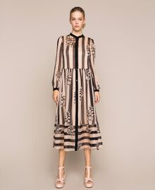 Long creponne dress with stripe and flower print Floral Print over Snow/ Black Stripes Woman 201TP2300-01