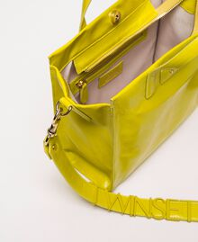 Medium leather shopper with logo Lime Yellow Woman 201TO8091-05