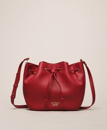 Faux leather bucket bag with scarf Venetian Red Woman 201MA7082-02