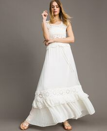 Long skirt with crochet insert Ivory Woman 191LM2NEE-01