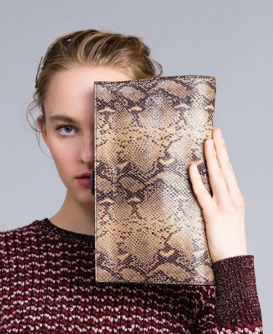 Animal print leather clutch bag Camel Snake Print Woman AA8PMA-0S