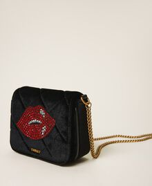 Velvet shoulder bag with patch Black Woman 202TD8280-03