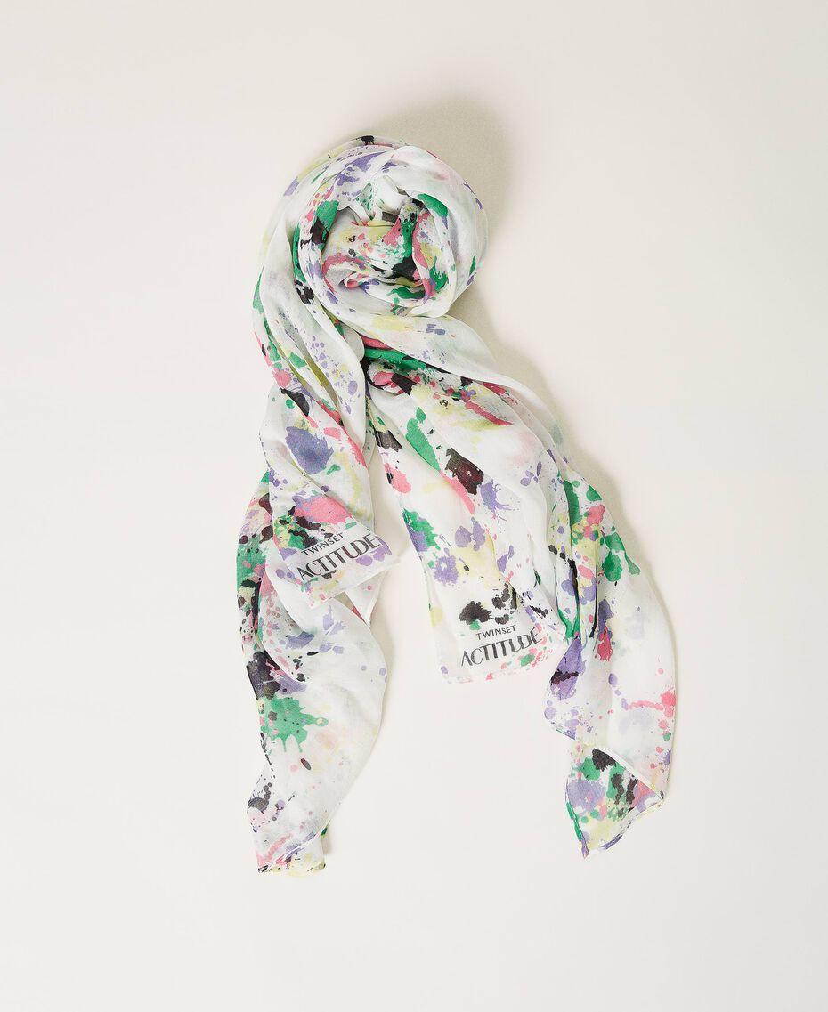 Étole avec imprimé Multicolore Blanc «Cassé Pois» Femme 211MO5364-01