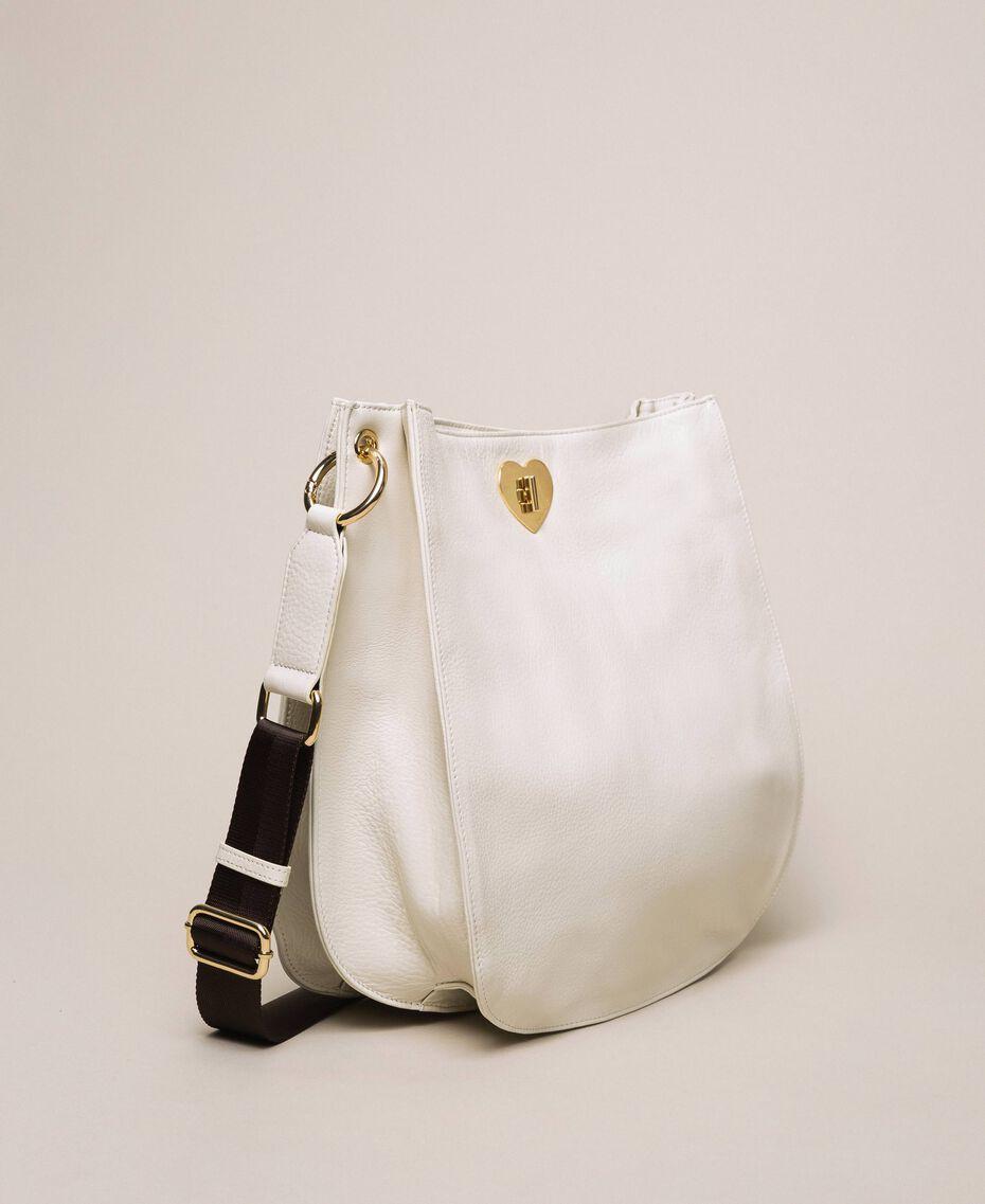 Hobo-Bag aus Leder mit Herz Weiß Schnee Frau 201TA7050-02