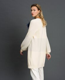 """Maxi cardigan with lurex band and brooch """"Creamy"""" White Striped / Silver Woman 192ST3081-02"""
