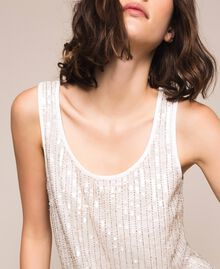 Full sequin and crystal bead top Ivory Woman 201TP2052-04