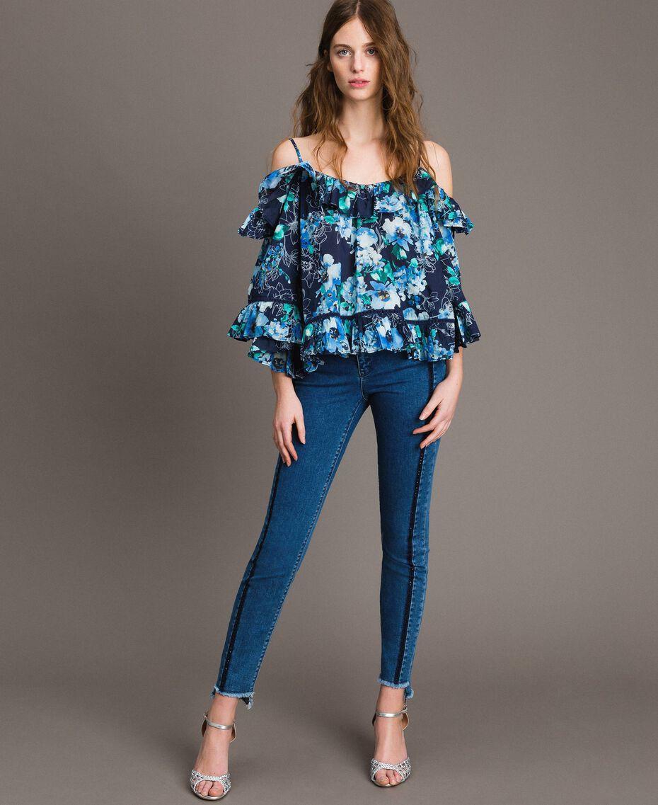 Jean skinny avec découpes ornées de strass Bleu Denim Femme 191MT2461-02