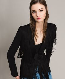 Blazer with fringes Black Woman 191TT2380-05