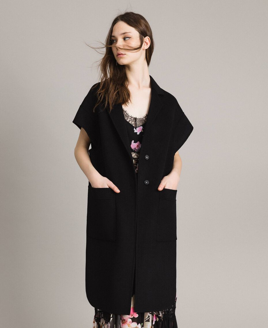 Double wool cloth waistcoat Black Woman 191TP2482-05