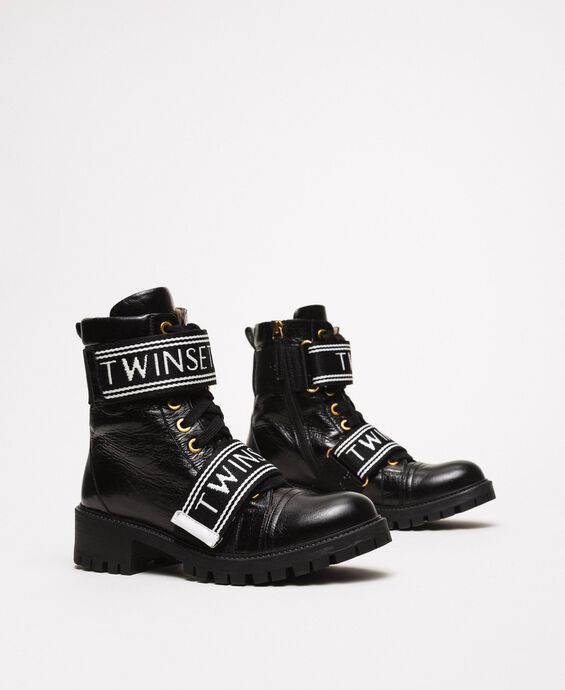 Leather combat boots with logo