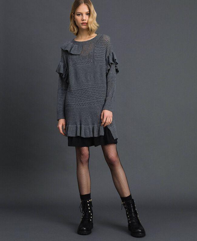 Robe ajourée en laine et cachemire Gris Mélangé Femme 192TP3200-01