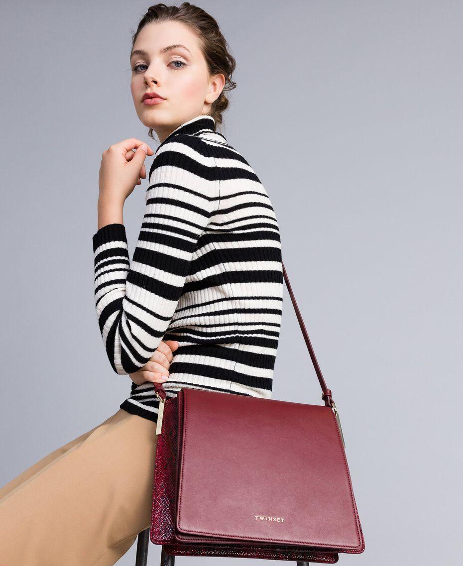 Big animal print shoulder bag in smooth leather Bicolour Burgundy / Burgundy Python Woman AA8PG3-0S