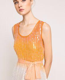Платье в технике тай-дай со сплошной отделкой пайетками Разноцветный Батик Радужный Розовый женщина 201TT2330-05