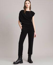 Top en lurex avec drapés et cordon coulissant Noir Femme 191MP2024-0T
