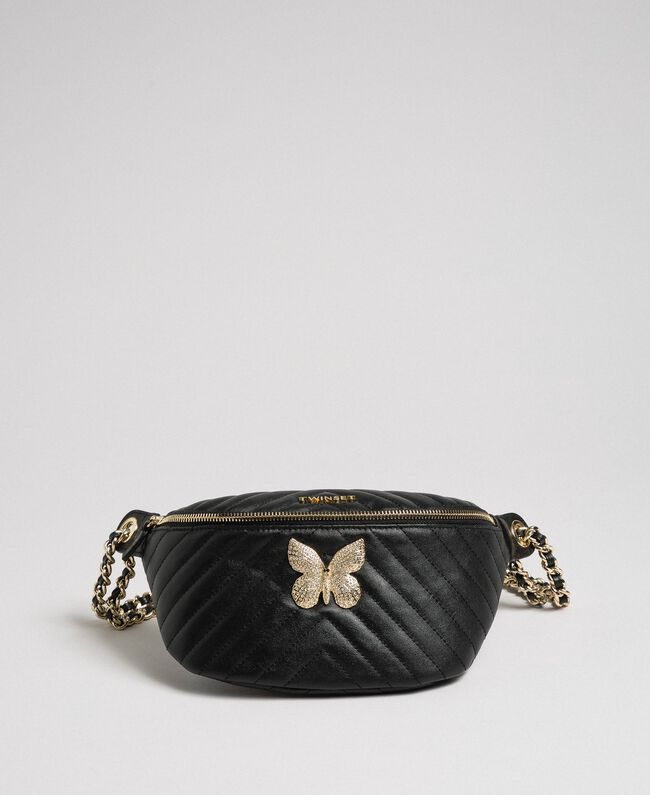 Quilted leather belt bag with butterfly Black Woman 192TA7104-04