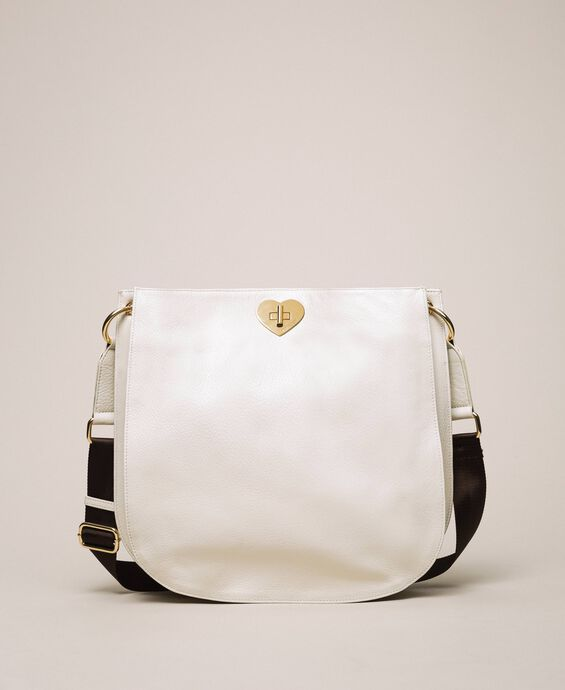 Leather hobo bag with heart