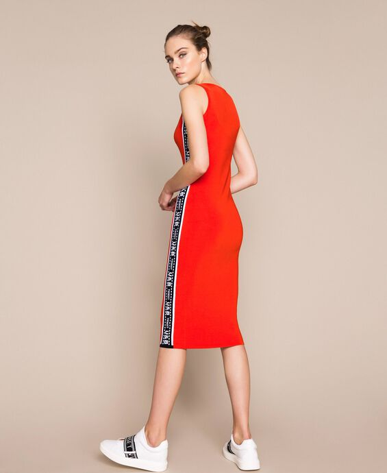 Sheath dress with logo side bands
