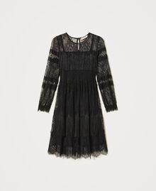 Robe en tulle avec dentelle et franges Noir Femme 202TP2374-0S