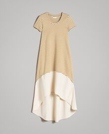 """Striped long dress with flounce Off White / """"Savannah"""" Beige Striping Woman 191ST2034-0S"""