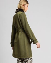 Technical satin coat with animal print collar Green Vetiver Woman 192MP2121-03