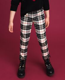 "Wool blend chequered trousers ""Snow"" White Tartan Jacquard Child 192GJ2692-01"