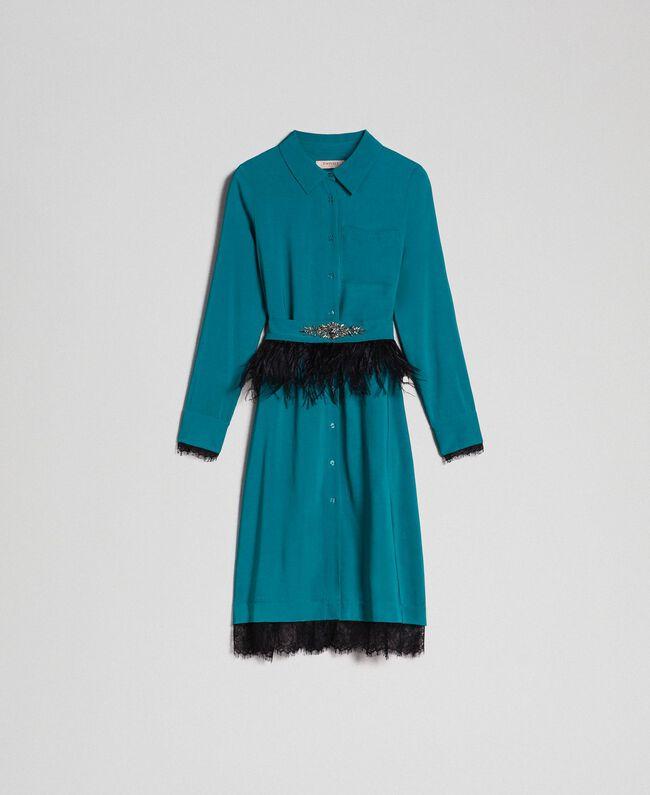 Hemdblusenkleid aus Georgette mit Gürtel Hellblau Mineralgrün Frau 192TP2113-0S