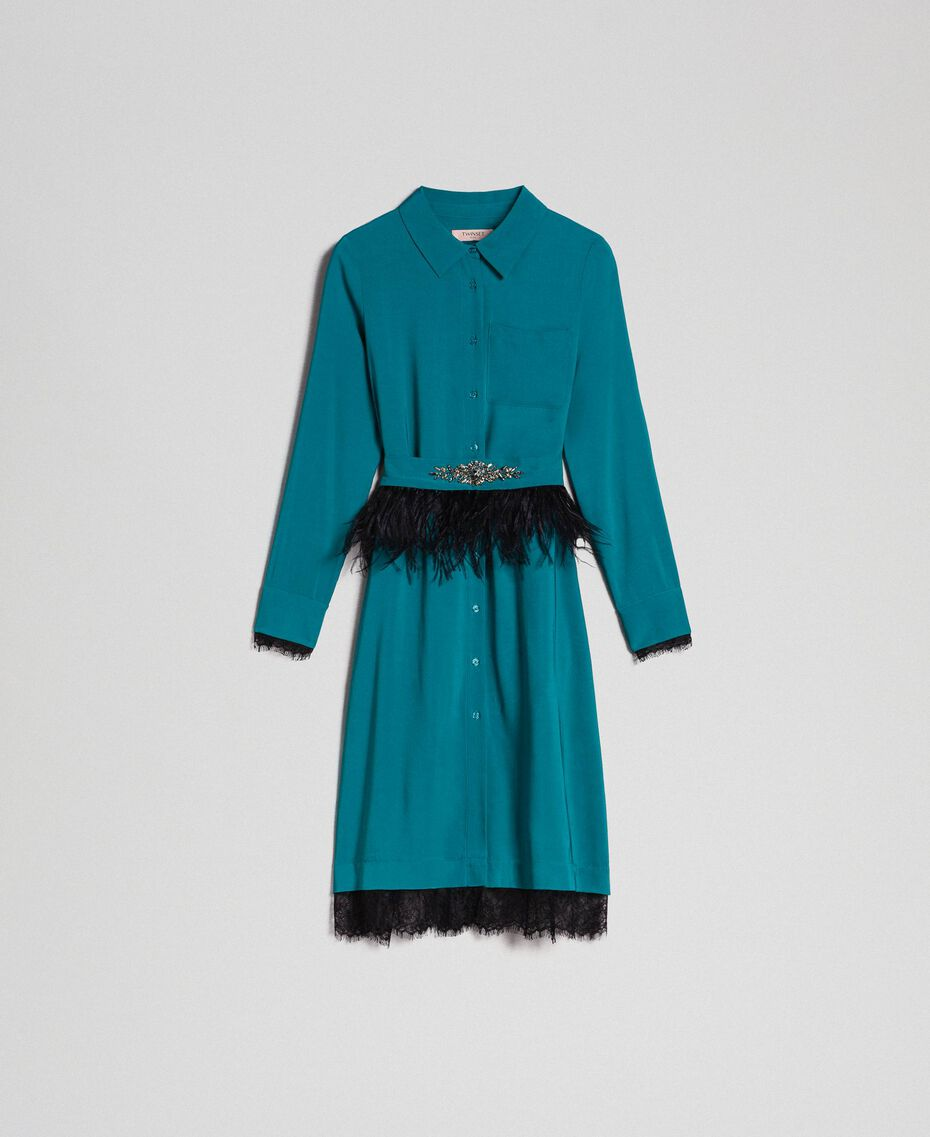 Georgette shirt dress with belt Mineral Green Pale Blue Woman 192TP2113-0S