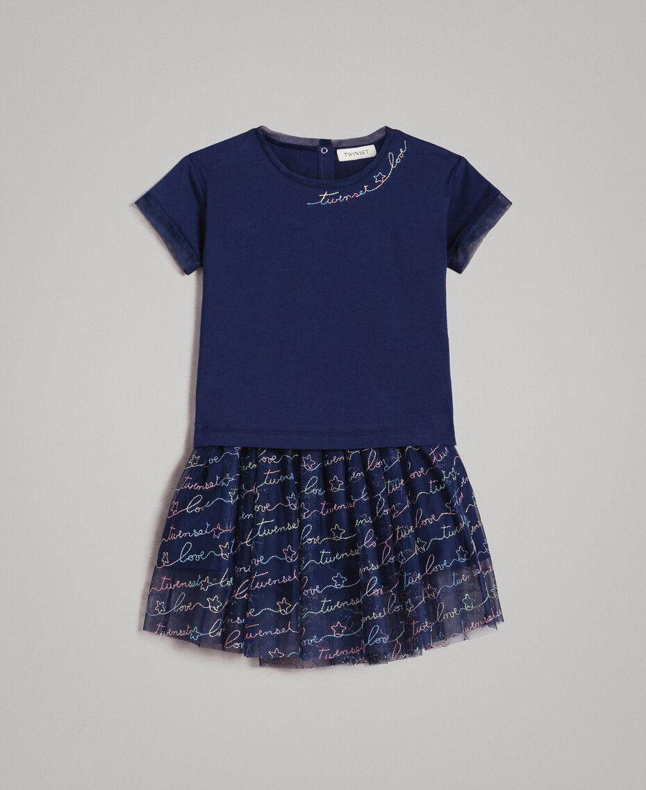 T-shirt in jersey e gonna in tulle con ricamo Indaco Bambina 191GB2440-01