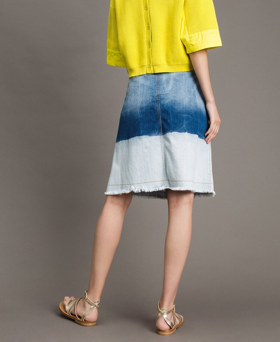 Dip-dye denim skirt Bleached Shades Woman 191TT2054-03