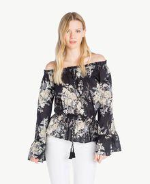Printed blouse Black Flower Bouquet Print Woman YS82PF-01