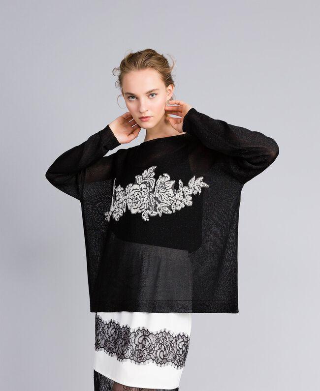Pullover aus Lurex mit Blumenintarsie Lurex Schwarz Frau PA836Q-01