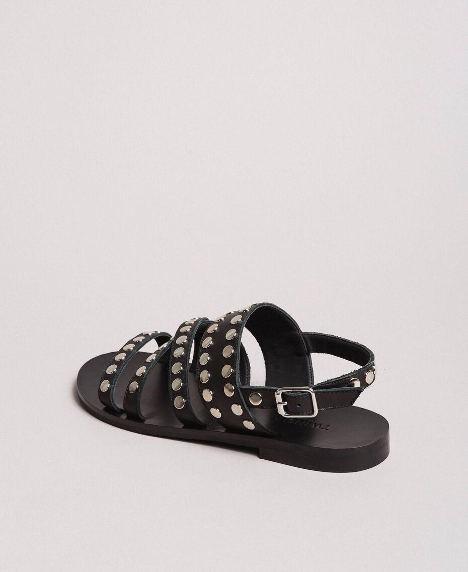 Leder-Sandalen mit Nieten Schwarz Frau 191TCP04G-03