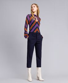 Pantalon en point de Milan Bleu Nuit Femme TA822F-01