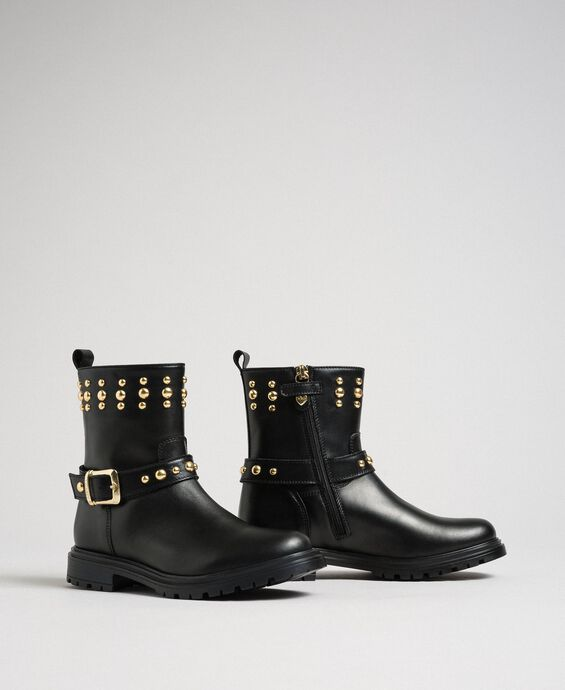 Leather biker boots with studs
