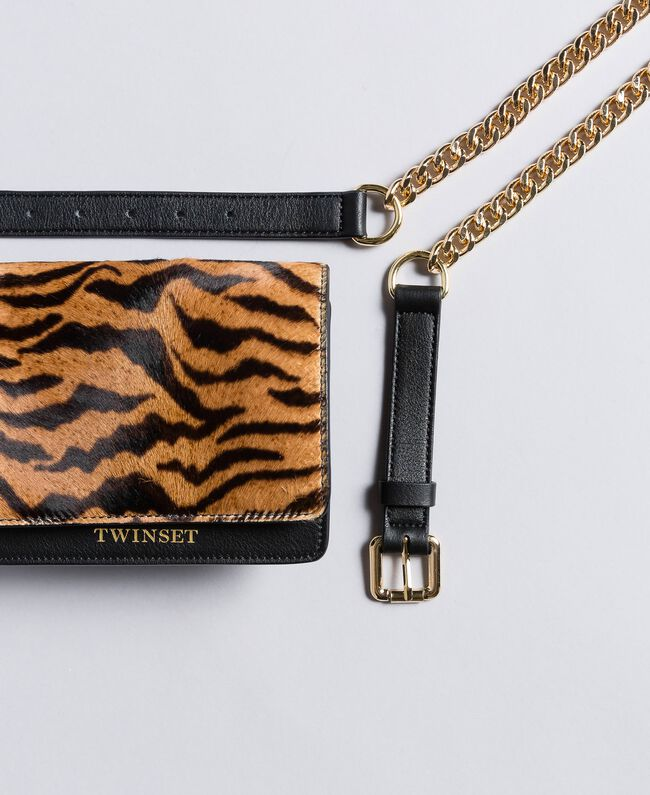 Leather and calf hair belt bag Tiger Print Woman OA8TDR-01