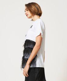 T-Shirt mit Federn und Strass Optisches Weiß / Schwarz Frau 211MT2600-03