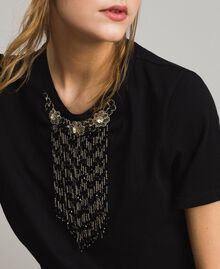 Embroidery and fringe T-shirt Black Woman 191TT2204-04