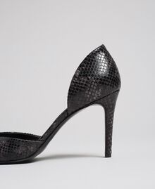 "Animal print leather court shoes ""Anthracite"" Grey Python Print Woman 192TCP150-04"