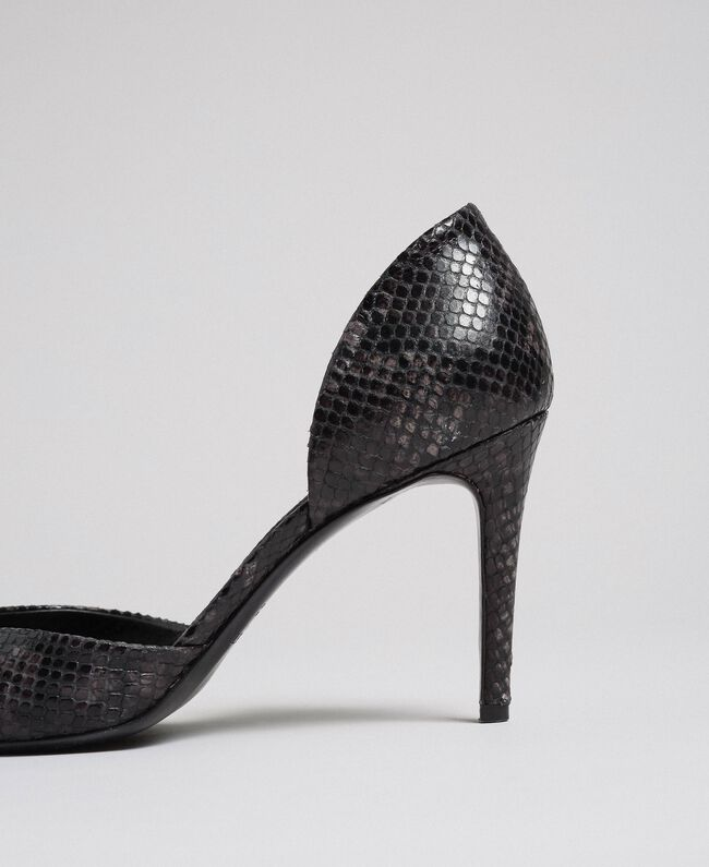 Escarpins en cuir avec imprimé animalier Imprimé Python Rose Mousse Femme 192TCP150-04