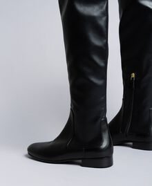 Stivali cuissardes in tessuto stretch Nero Donna CA8PMS-03