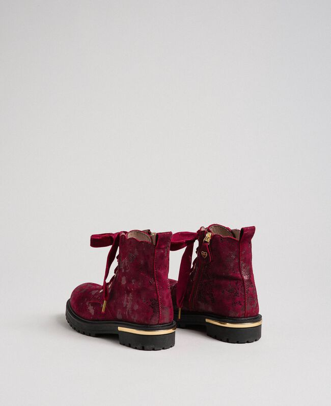 Laminated leather ankle boots Laminated Ruby Wine Print Child 192GCJ042-03