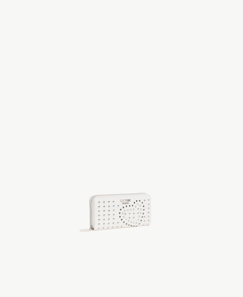 Studded wallet Cream Heart White Embroidery Woman RS8TFS-02