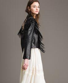 Blouson en cuir à franges Noir Femme 191TT2170-04
