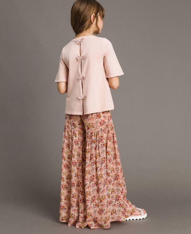 T-Shirt aus Jerseystoff mit Stickerei Blütenrosa Kind 191GJ2032-03