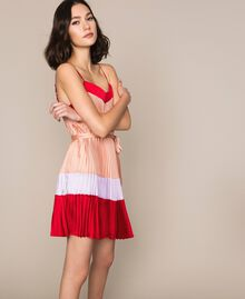 "Pleated satin slip dress Multicolour ""Lava"" Red / ""Ballerina"" Purple / Nude Pink Woman 201TP2311-02"