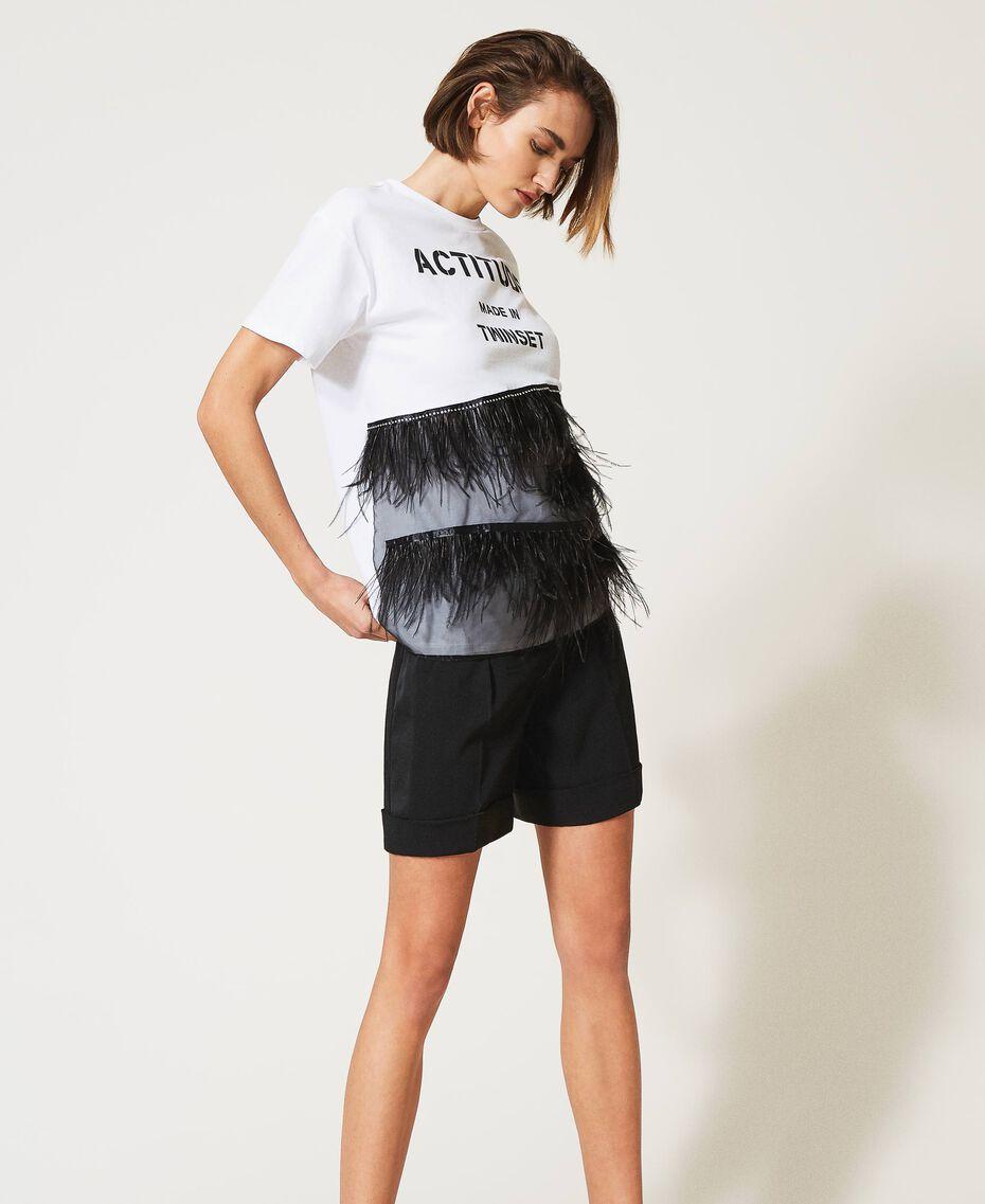 T-Shirt mit Federn und Strass Optisches Weiß / Schwarz Frau 211MT2600-02