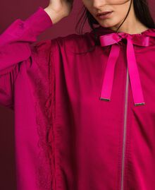 Satin maxi sweatshirt with lace and fringes Red Amaranth Woman 192MP2270-04