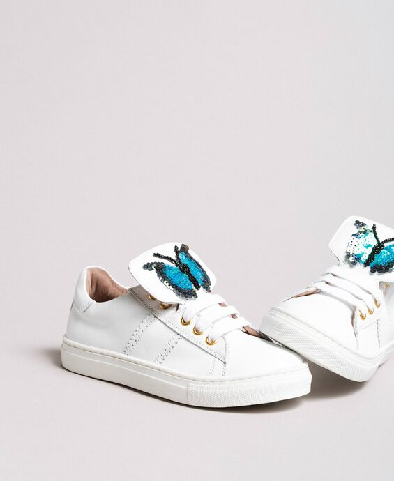 Leather sneakers with butterfly patch