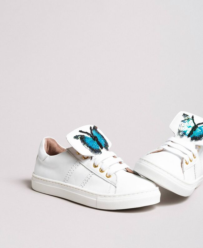 Leather sneakers with butterfly patch Pale Cream Child 191GCJ140-01